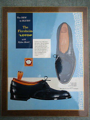 VINTAGE 1950s FLORSHEIM BLUE LEATHER & MESH MENS SHOES STORE DISPLAY SIGN