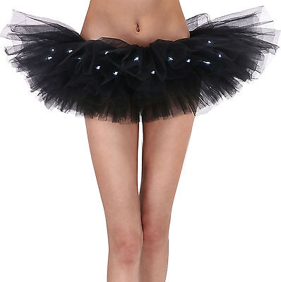 Women Fancy LED Light Up Tutu Dress Halloween Costume Adult Skirt