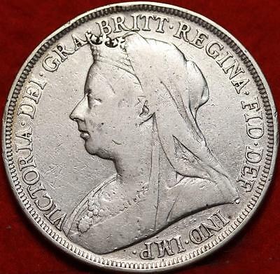 1898 Great Britain Crown Silver Foreign Coin Free S/H