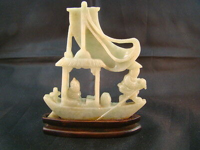 Chinese Later 19th century nice carved nature color jadeite artifact   p6627