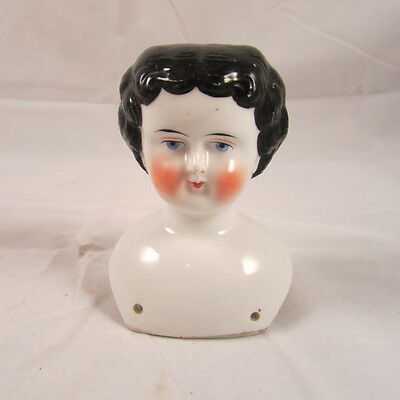 China Head Doll Head Only Antique Brunette Flat Top Chinahead Shoulder Plate