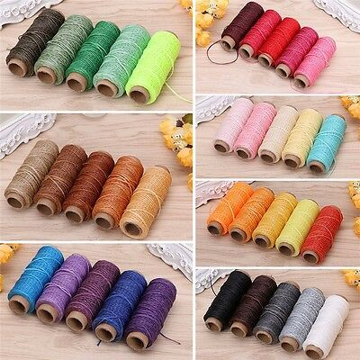 5Pcs 50M 150D Leather Sewing Flat Waxed Thread Wax String Hand Stitching Craft
