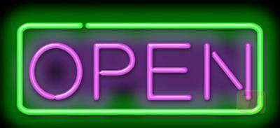 "Open with Border 24""W x 11""H Genuine Neon Sign JANTEC USA Fast Free Shipping"