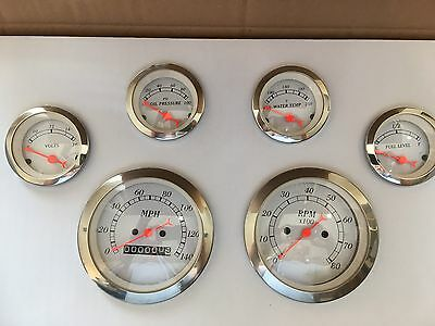 Classic 6 Gauge Set manual Speedometer Street Hot Rod Chevy Ford Chrysler