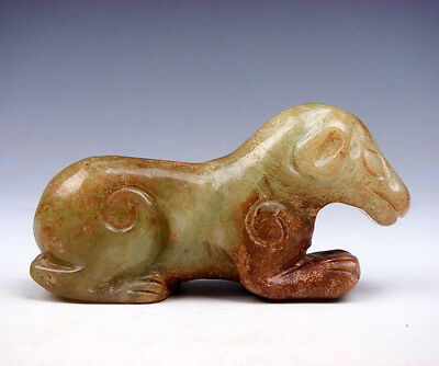Old Nephrite Jade Hand Carved Sculpture Seated Ancient Dog Puppy #05171704