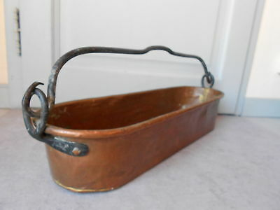 Antique french Large COPPER IRON Handle FISH STEAMER