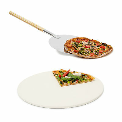 2 teiliges Pizza Set runter Pizzastein aus Cordierit Pizzaschaufel Pizzaschieber
