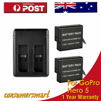 2x 1280mAh Li-ion Battery +Dual Charger For AHDBT-501 Go Pro Hero 5 Accessory AU
