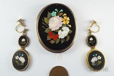 ANTIQUE ITALIAN GOLD PIETRA DURA FLORAL MOSAIC BROOCH & EARRINGS SET by F VICHI