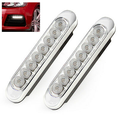 2 x 8 LED White Car Truck Universal Day Fog Aux Light Kit Lamps Bulbs Front New
