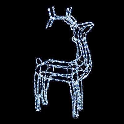 3D Standing Reindeer Rope Light White LED Christmas Xmas Outdoor Decoration