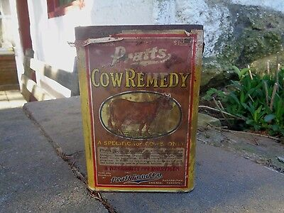 Vintage Pratt's Cow Remedy Tin Can Medicine Unopened Paper Label Veterinary Sign