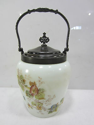 Antique Hand Painted Biscuit Jar- Van Bergh Silverplated Top