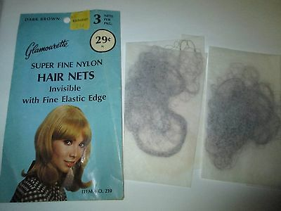 LOT 2 VINTAGE GLAMOURETTE Super Fine Nylon HAIR NETS Dark Brown