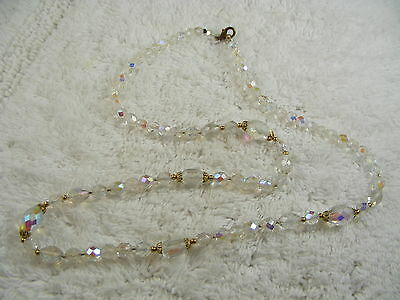 Long Vintage Goldtone Faceted AB Crystal Glass Bead Necklace  (D79)
