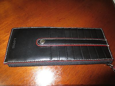 LODIS NWOT BLACK LEATHER Card/Wallet/ID Holder Zip/snap/8credit card