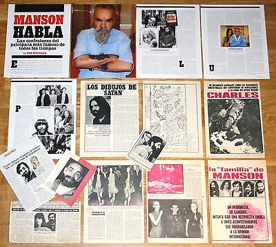 CHARLES MANSON spain clippings 1960s/00s magazine articles photos Sharon Tate