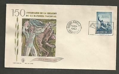 ARGENTINA -1962 The 150th Anniversary of the National Flag - FIRST DAY COVER.