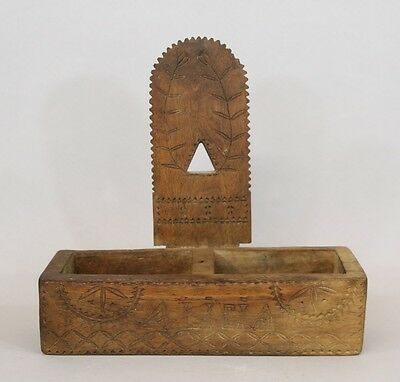 "Early 19thC American New England Folk Art Chip-carved Wood Wall Box ""Alicia"""