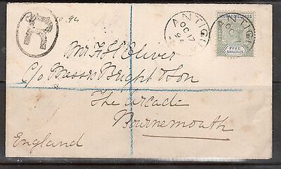 Leeward Islands #8 Very Fine Used On Registered Cover To Bournemouth