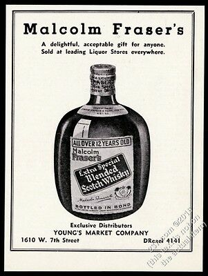 1935 Malcolm Fraser's Extra Special Scotch Whisky bottle photo vintage print ad