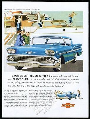 1958 Chevy Chevrolet Impala Sport Coupe car and yacht art vintage print ad