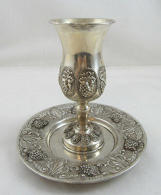 Nice Kiddush Set Cup with Plate - Sterling Silver 925 224g Height 6
