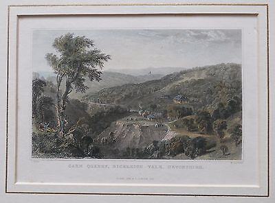 Antique mounted coloured etching of Carn Quarry Bickleigh Vale Devon. 1831