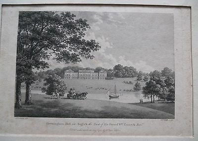Antique etching/engraving of Heveningham Hall Suffolk. 1782.