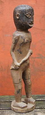 Fine Old Indonesian? Carved Wooden Tribal Figure W/ Painted Face Nr!