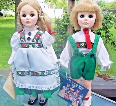 """EFFANBEE STORYBOOK DOLLS HANSEL & GRETEL 11"""" TALL w/ STAND GOOD COND WITH TAGS"""