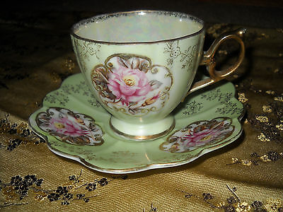 Lefton Antique Cup & Saucer Set. Hand-painted. Pink Roses / Mint Green-Gold Trim