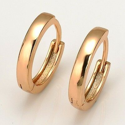 Women's Earrings 18k Yellow Gold Filled 16mm Hoops Fashion Jewelry Charms Gift