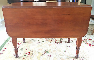 Antique 19th C Solid Cherry Drop Leaf Kitchen Dining Table 1800's