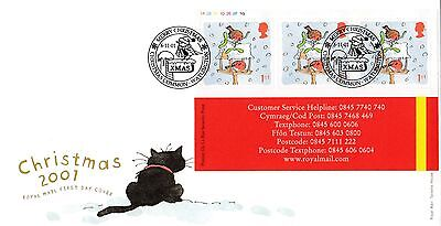 (00740) GB FDC Christmas Robins 1st Booklet Christmas Common 6 November 2001