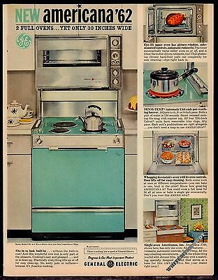 1962 GE General Electric Americana '62 J790 Aqua Range Stove Kitchen AD