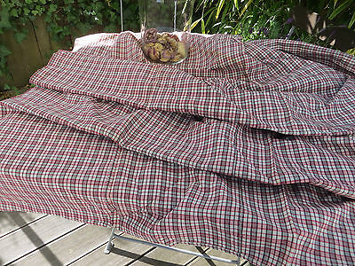 Antique  Check Duvet Cover Handwoven  Linen Plaid Fabric Bedlinen Comforter