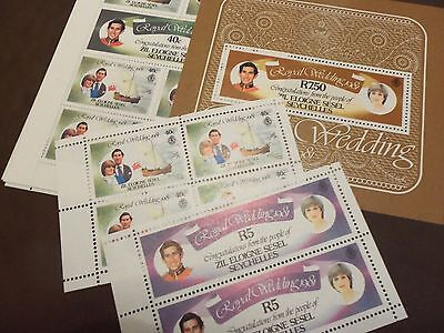 Zil Eloigne Sesal Seychelles 1981 Royal Wedding Set  Of Assorted Stamps