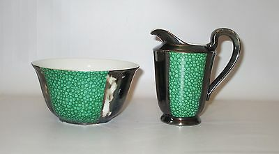 Sterling Silver on Porcelain Creamer + Bowl Foreign Art Nouveau Green White