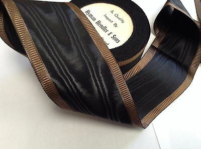 "10 Yards 2 5/8"" VINTAGE ANTIQUE Moire Brown & Black Grosgrain Ribbon FRENCH"