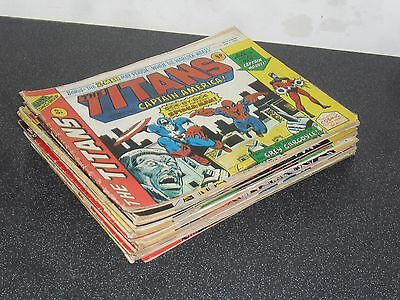 MIXED LOT OF 26 UK MARVEL THE TITANS COMICS FROM THE 1970's