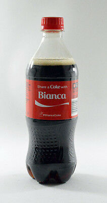 Share a Coke with Bianca 20 fl oz Collectible Bottle Rare Unopened Coca-Cola