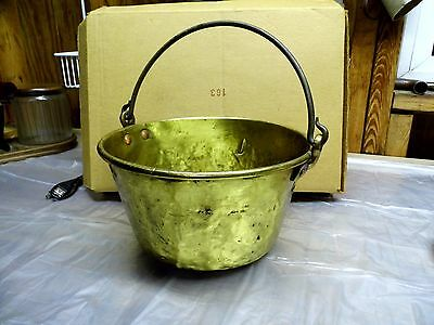 SMALL ANTIQUE BRASS JELLY BUTTER CANDY BUCKET w/ WROUGHT IRON HANDLE