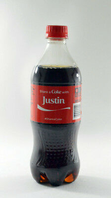 Share a Coke with Justin 20 fl oz Collectible Bottle Rare Unopened Coca-Cola