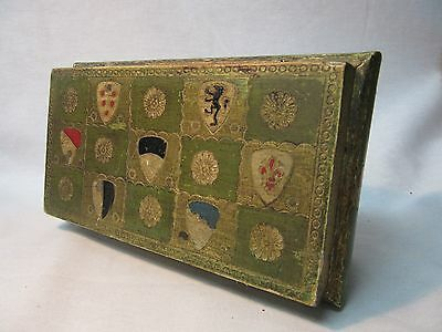 Vintage Italian Florentine Gold Gilt Toleware Box Hand-Painted Made In Italy
