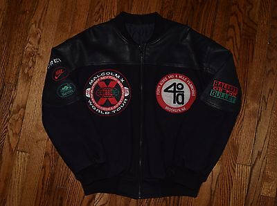 1991 Malcolm X SPIKE LEE crew jacket vtg 90s hip hop shirt NIKE 40 acres film XL
