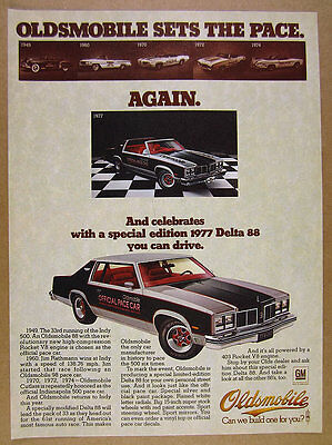 1977 Oldsmobile Delta 88 Indy 500 Pace Car Edition color photo vintage print Ad