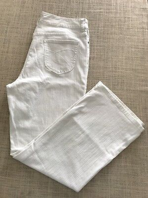 "CHICO'S White ""Charm"" Stretch Denim Boot Cut Jeans Sz 2.5 Short"