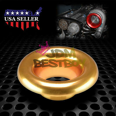 """4"""" Champagne Gold Short Ram Cold Air Intake Turbo Horn Aluminum Velocity Stack"""
