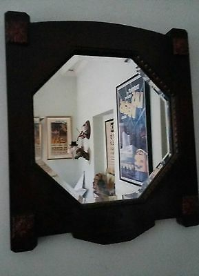 Vintage Retro Arts And Crafts Deco Bevelled Edge Mirror. Shaped Dark Wood Frame.